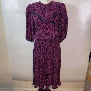 Vintage Mosaic Pink Animal Print Skirt Set Small